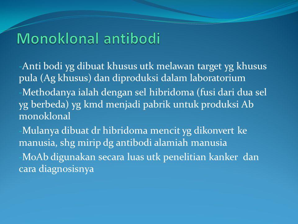 Monoklonal antibodi Anti bodi yg dibuat khusus utk melawan target yg khusus pula (Ag khusus) dan diproduksi dalam laboratorium.