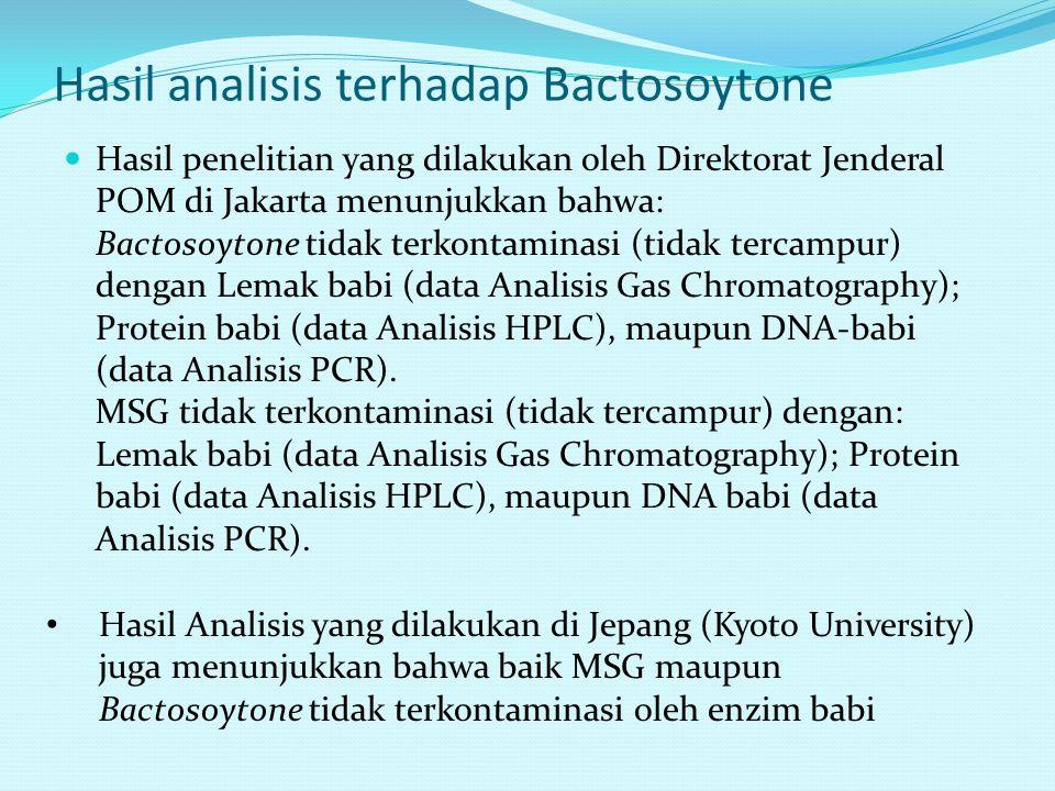 Hasil analisis terhadap Bactosoytone