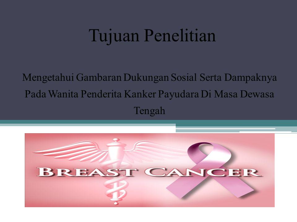 Tujuan Penelitian Mengetahui Gambaran Dukungan Sosial Serta Dampaknya Pada Wanita Penderita Kanker Payudara Di Masa Dewasa Tengah.