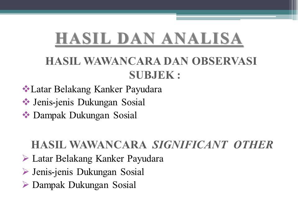 HASIL DAN ANALISA HASIL WAWANCARA DAN OBSERVASI SUBJEK :