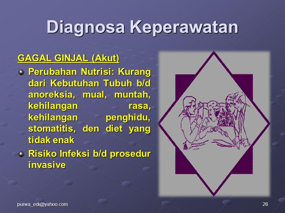 Diagnosa Keperawatan GAGAL GINJAL (Akut)