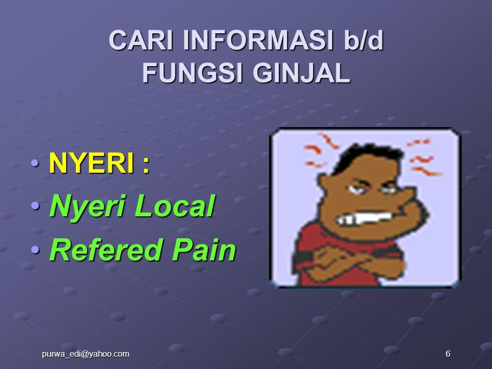 CARI INFORMASI b/d FUNGSI GINJAL