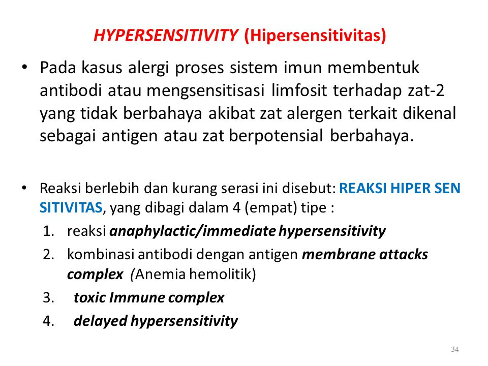 HYPERSENSITIVITY (Hipersensitivitas)