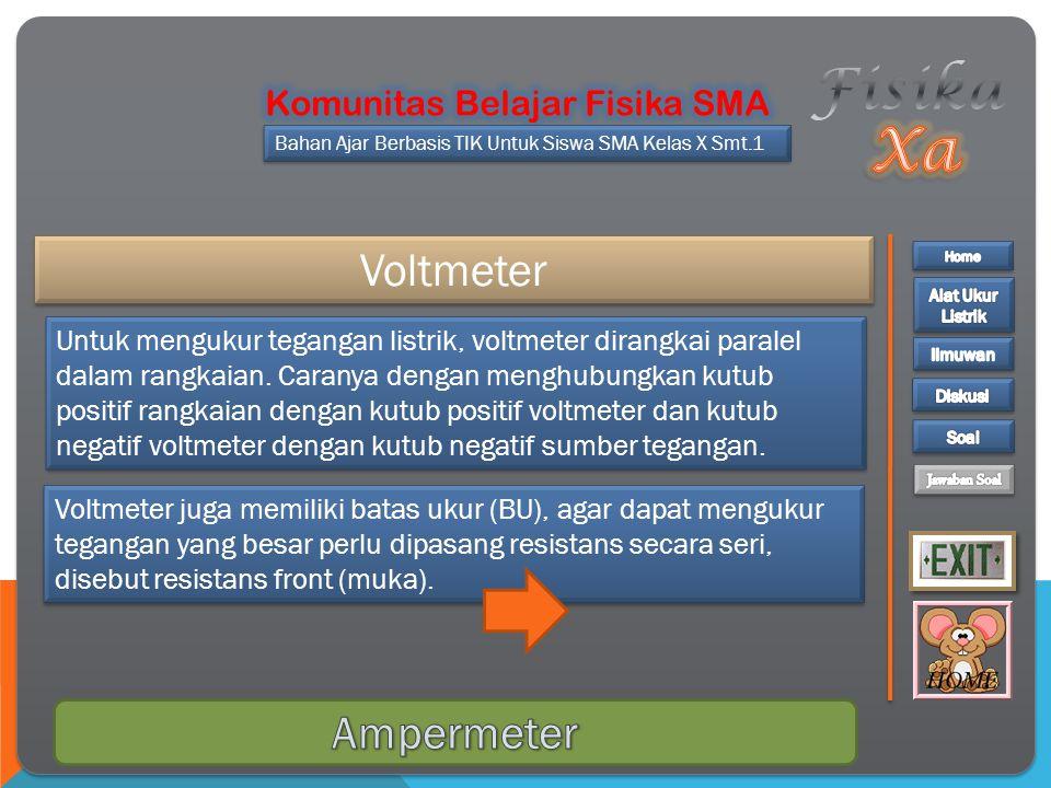 Fisika Xa Voltmeter Ampermeter Komunitas Belajar Fisika SMA