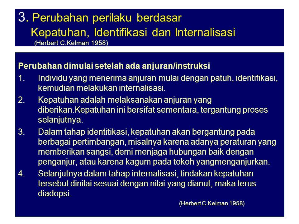 3. Perubahan perilaku berdasar Kepatuhan, Identifikasi dan Internalisasi (Herbert C.Kelman 1958)