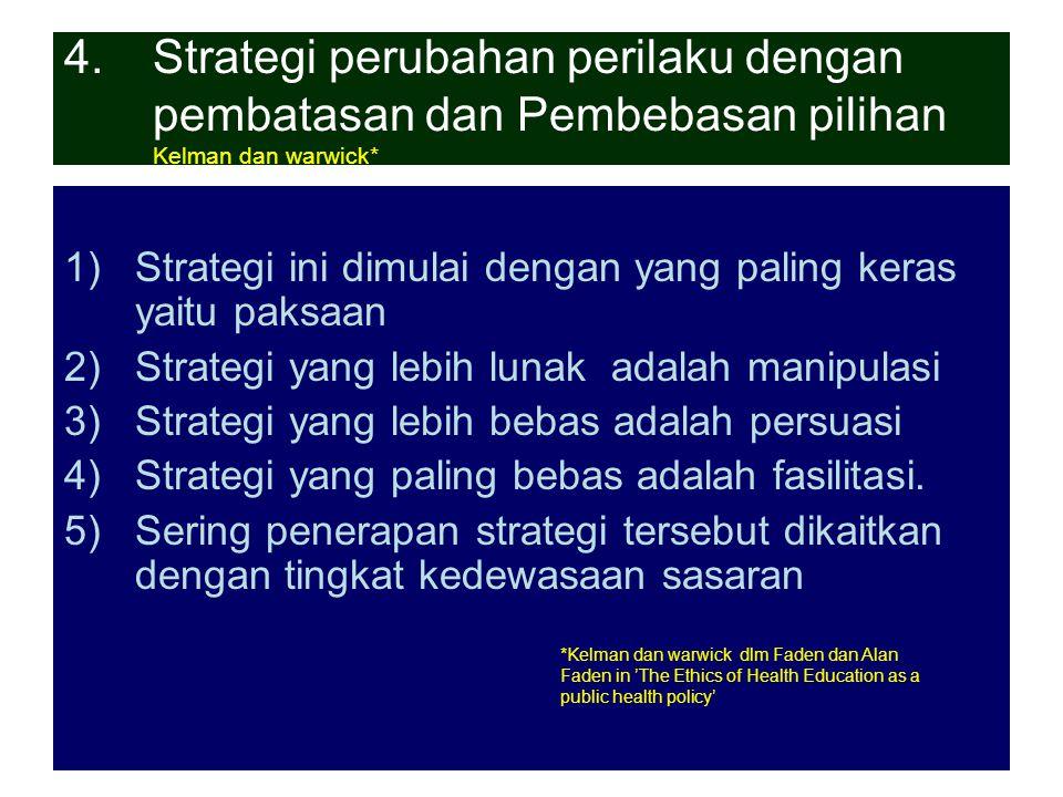 Strategi perubahan perilaku dengan pembatasan dan Pembebasan pilihan Kelman dan warwick*