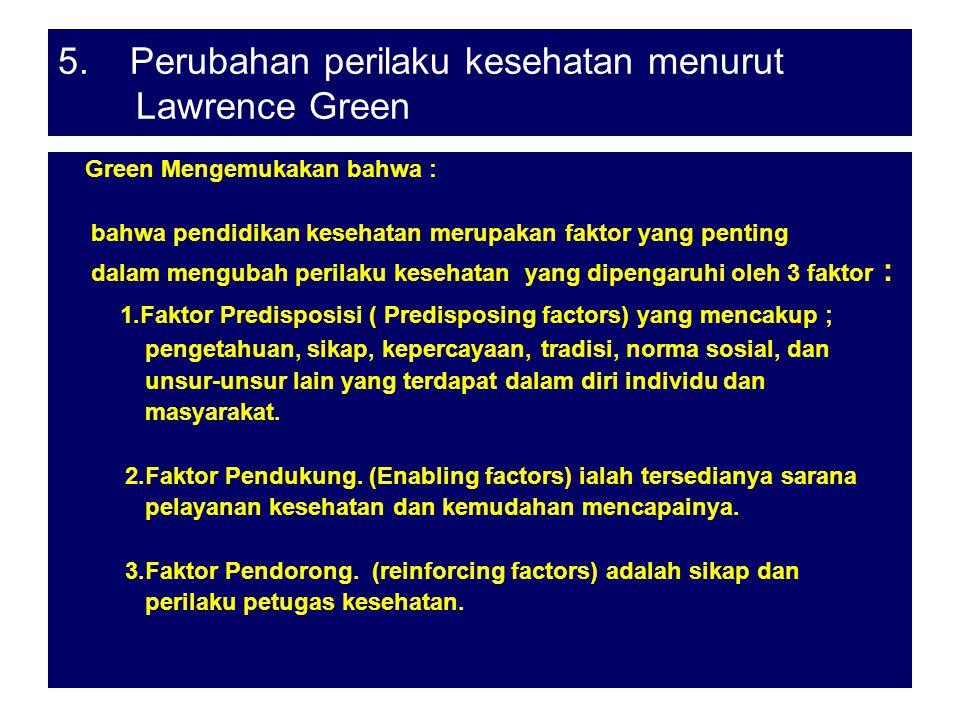 5. Perubahan perilaku kesehatan menurut Lawrence Green