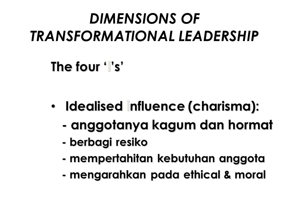 DIMENSIONS OF TRANSFORMATIONAL LEADERSHIP