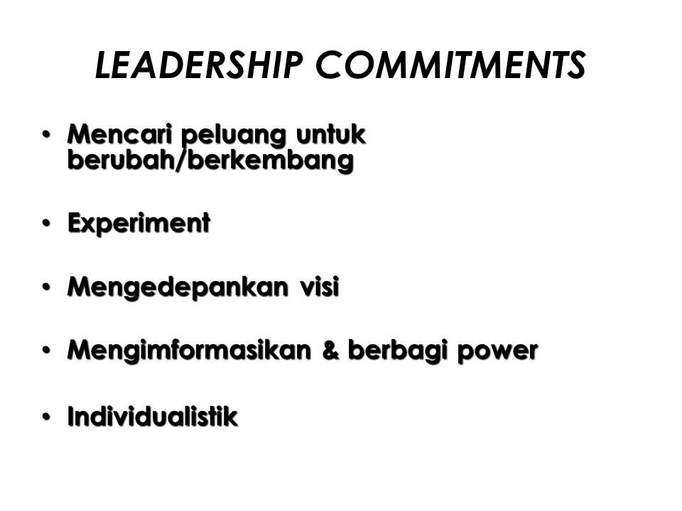 LEADERSHIP COMMITMENTS