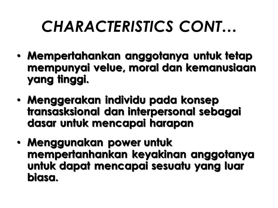 CHARACTERISTICS CONT…