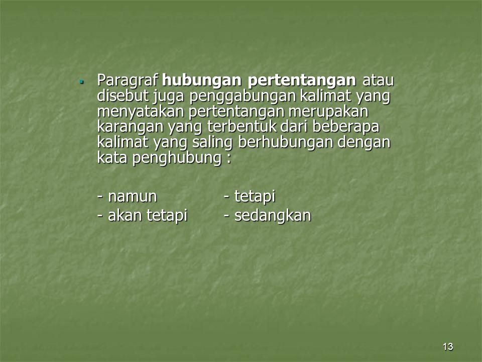 Paragraf hubungan pertentangan atau disebut juga penggabungan kalimat yang menyatakan pertentangan merupakan karangan yang terbentuk dari beberapa kalimat yang saling berhubungan dengan kata penghubung :