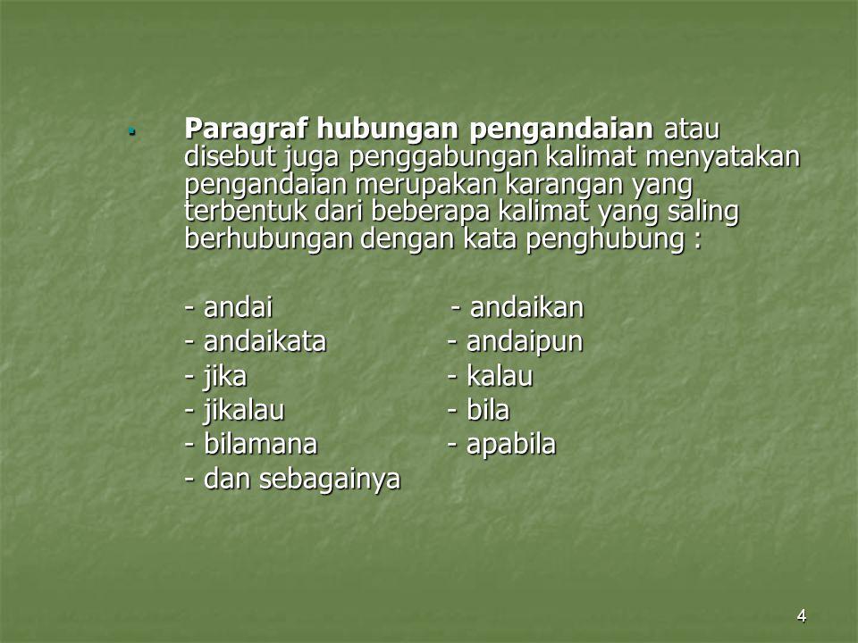Paragraf hubungan pengandaian atau disebut juga penggabungan kalimat menyatakan pengandaian merupakan karangan yang terbentuk dari beberapa kalimat yang saling berhubungan dengan kata penghubung :