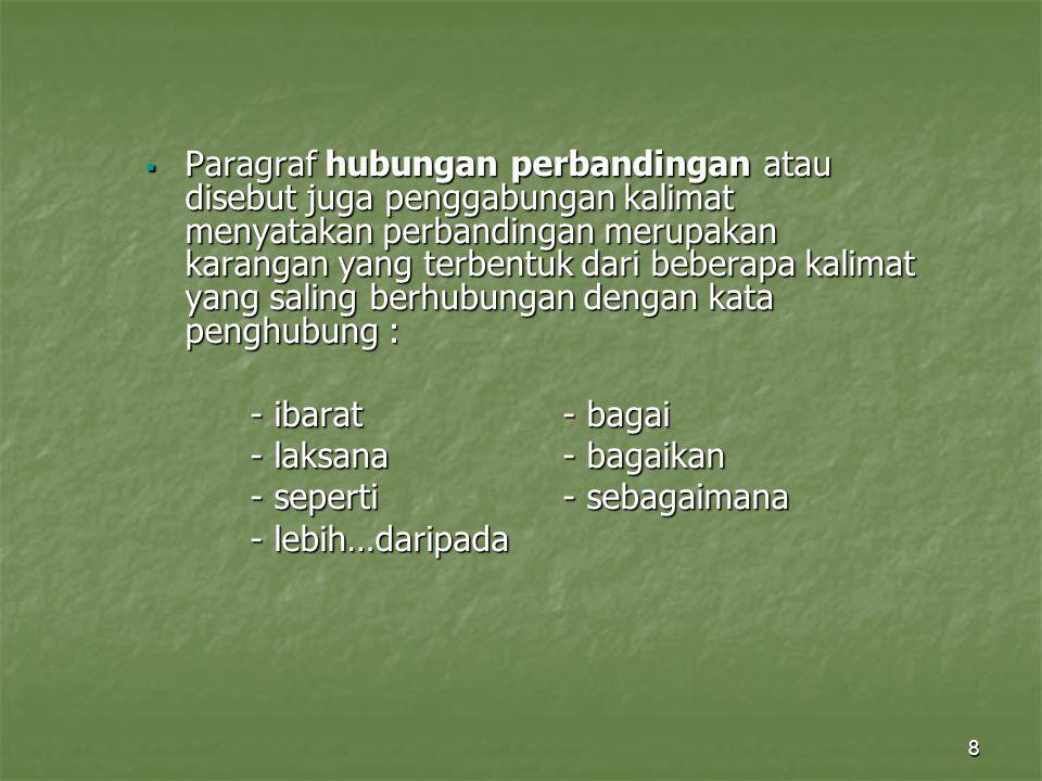 Paragraf hubungan perbandingan atau disebut juga penggabungan kalimat menyatakan perbandingan merupakan karangan yang terbentuk dari beberapa kalimat yang saling berhubungan dengan kata penghubung :