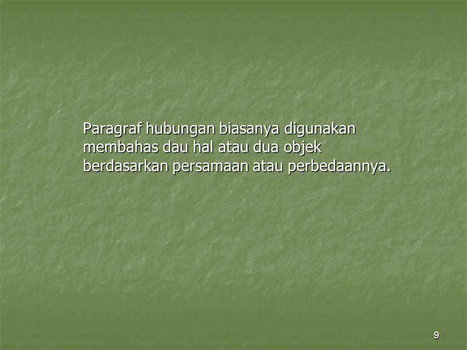 Paragraf hubungan biasanya digunakan membahas dau hal atau dua objek berdasarkan persamaan atau perbedaannya.