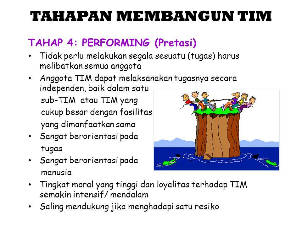 TAHAPAN MEMBANGUN TIM TAHAP 4: PERFORMING (Pretasi)