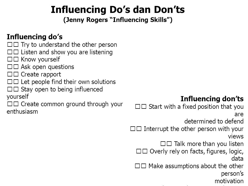 Influencing Do's dan Don'ts (Jenny Rogers Influencing Skills )