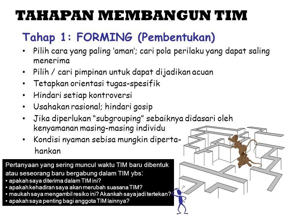 TAHAPAN MEMBANGUN TIM Tahap 1: FORMING (Pembentukan)
