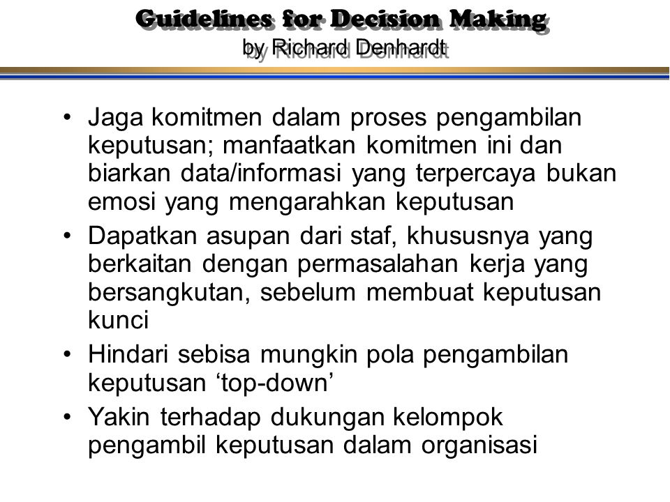 Guidelines for Decision Making by Richard Denhardt