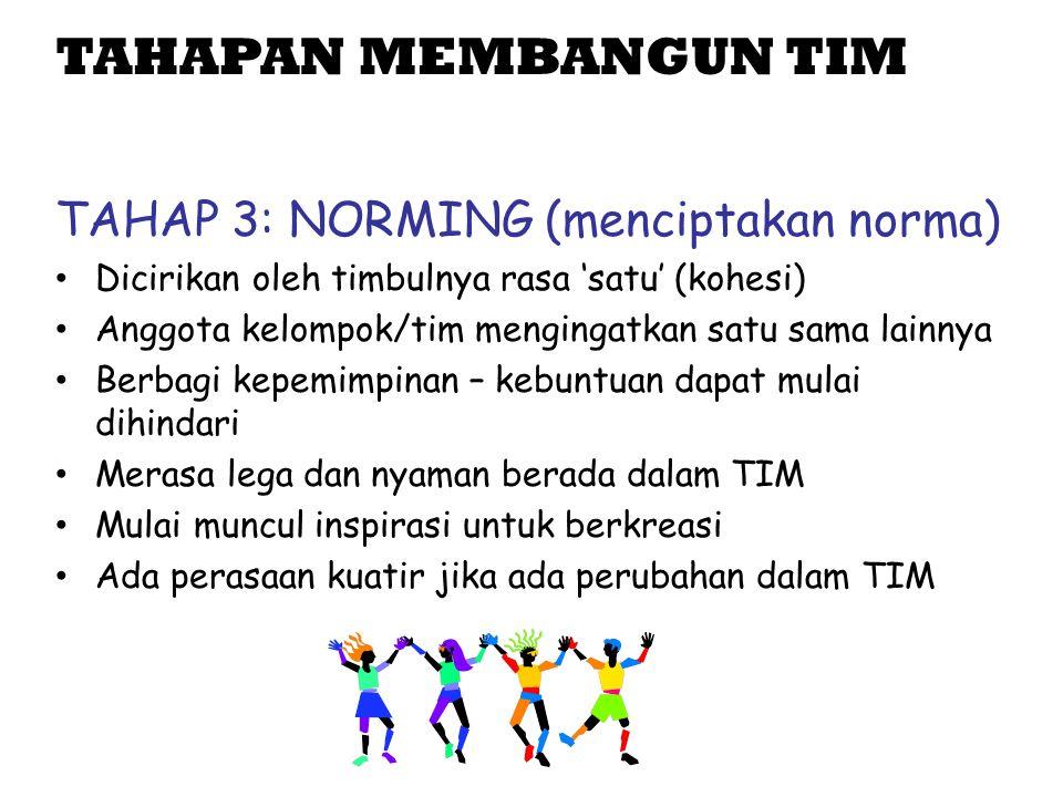 TAHAPAN MEMBANGUN TIM TAHAP 3: NORMING (menciptakan norma)