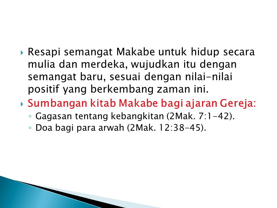 Sumbangan kitab Makabe bagi ajaran Gereja: