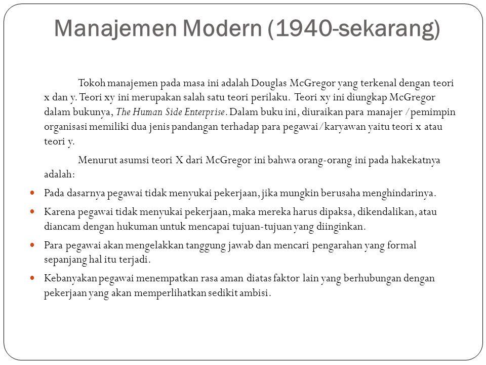 Manajemen Modern (1940-sekarang)