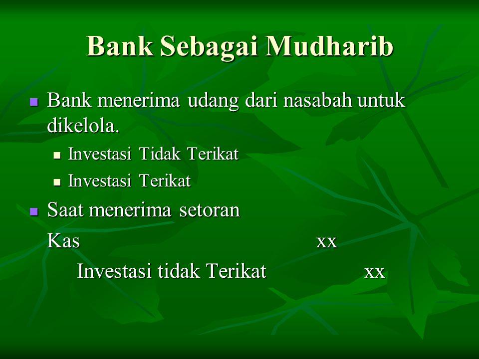 Bank Sebagai Mudharib Bank menerima udang dari nasabah untuk dikelola.