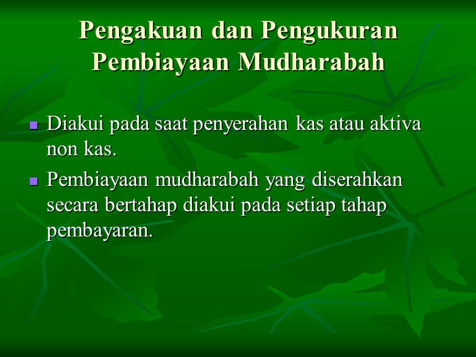 Pengakuan dan Pengukuran Pembiayaan Mudharabah