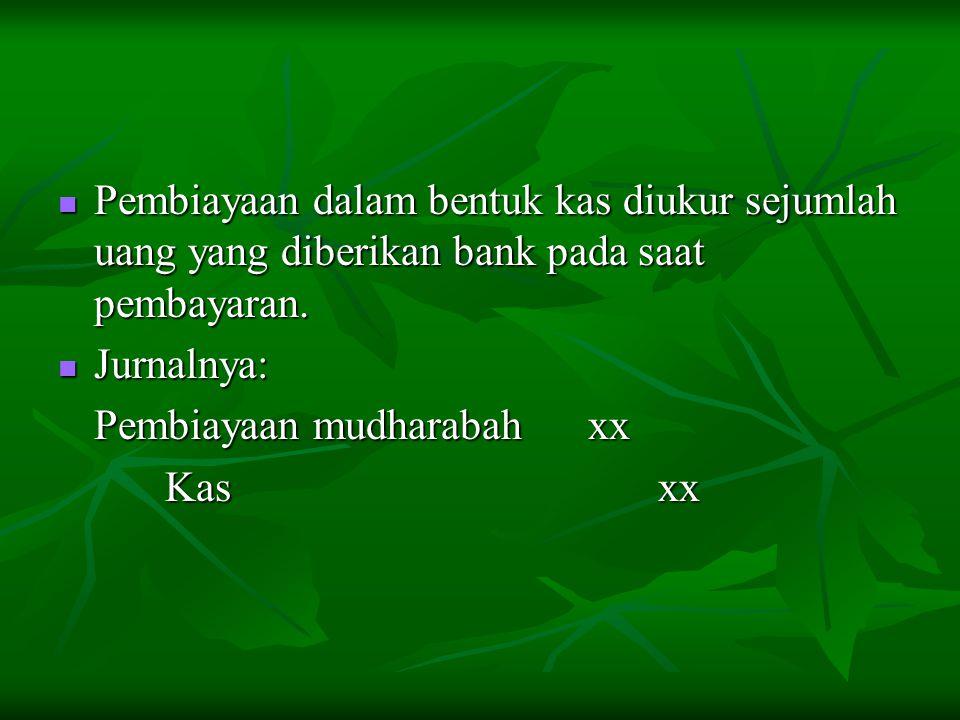 Pembiayaan dalam bentuk kas diukur sejumlah uang yang diberikan bank pada saat pembayaran.