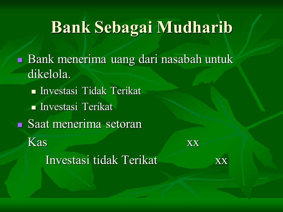 Bank Sebagai Mudharib Bank menerima uang dari nasabah untuk dikelola.