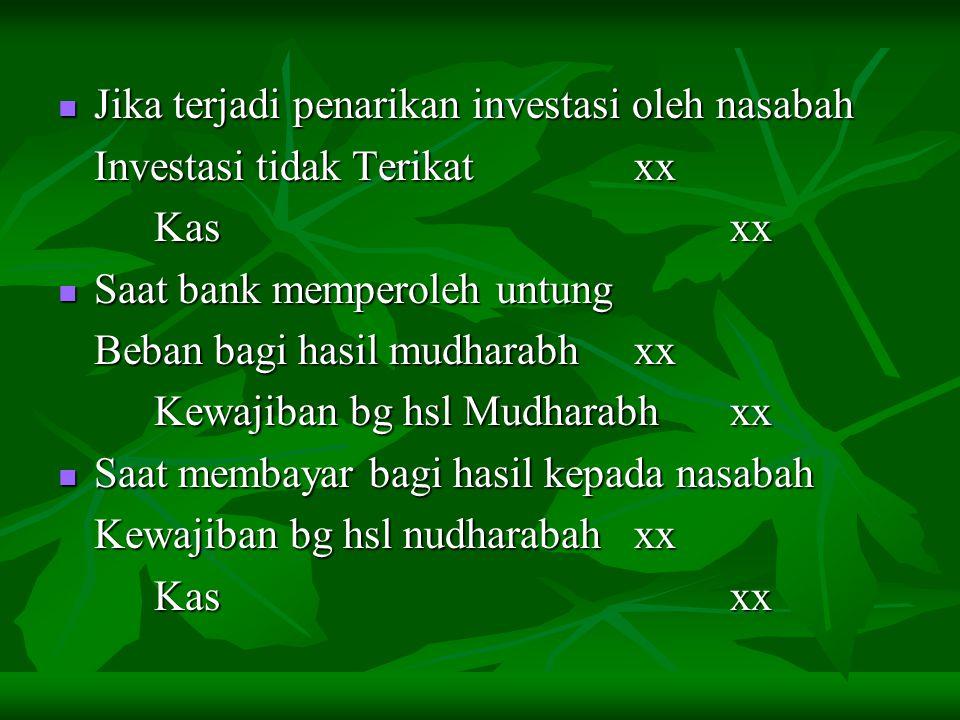 Jika terjadi penarikan investasi oleh nasabah
