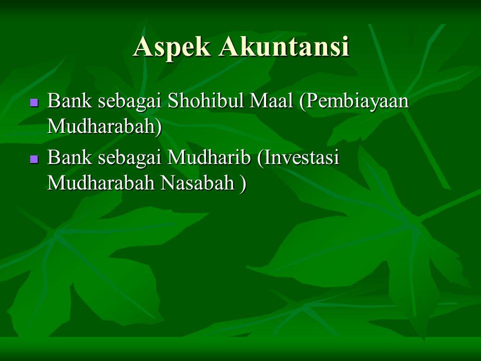 Aspek Akuntansi Bank sebagai Shohibul Maal (Pembiayaan Mudharabah)