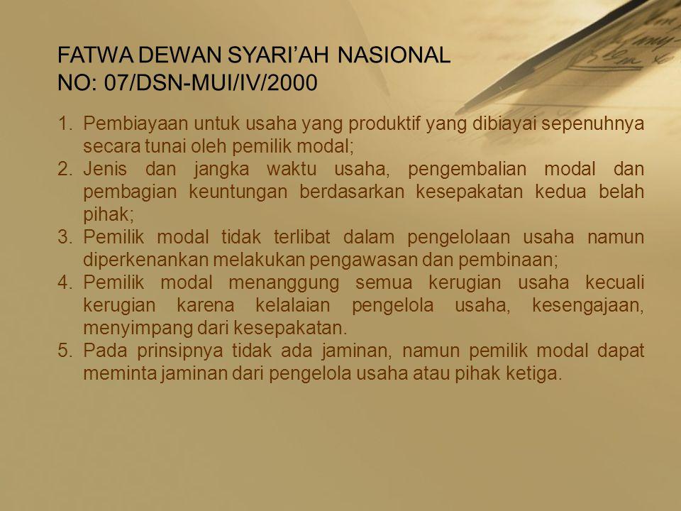 FATWA DEWAN SYARI'AH NASIONAL NO: 07/DSN-MUI/IV/2000