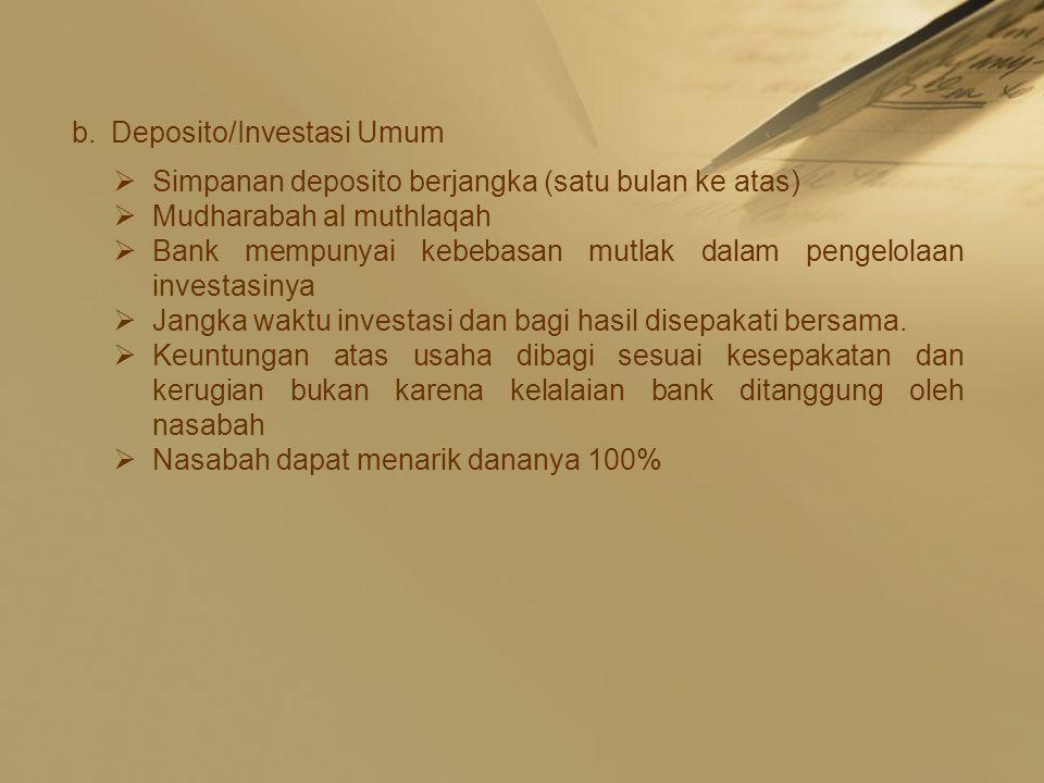 Deposito/Investasi Umum