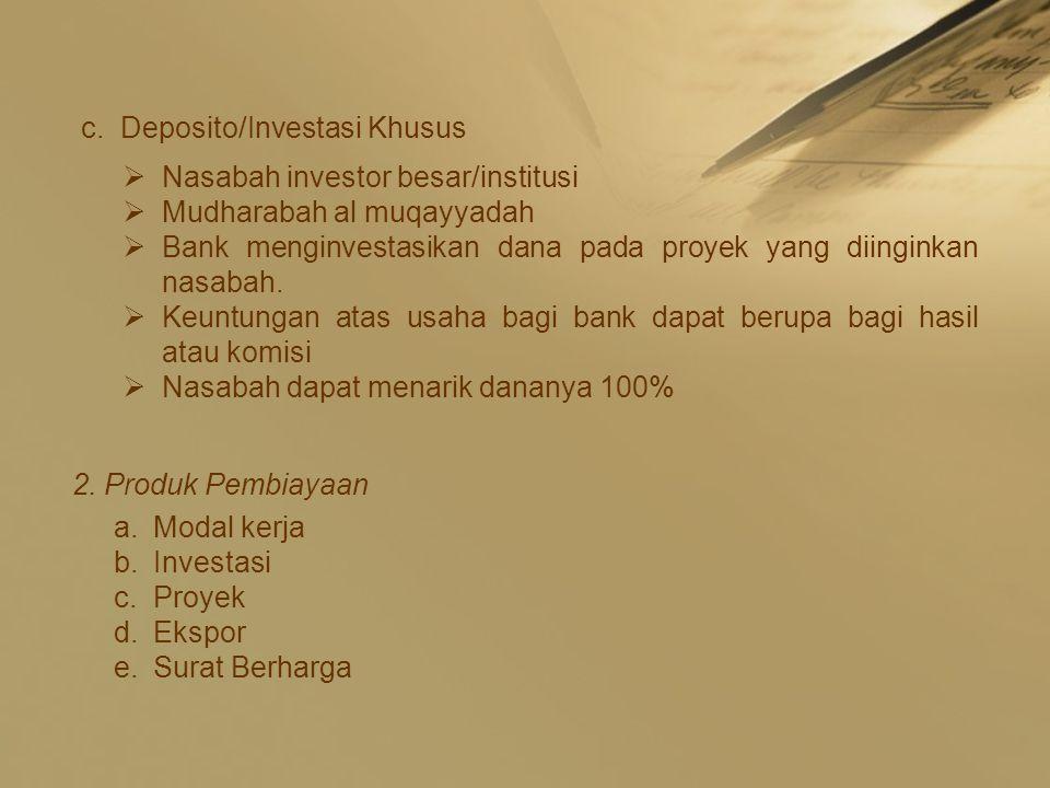 Deposito/Investasi Khusus