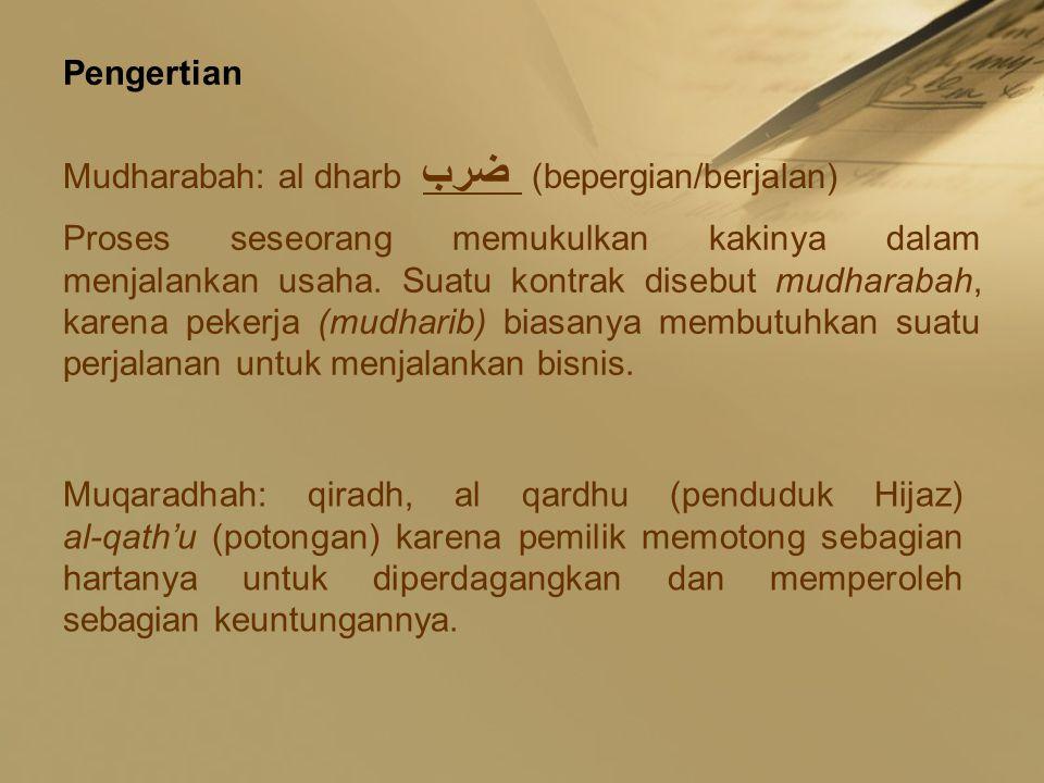 Pengertian Mudharabah: al dharb ضرب (bepergian/berjalan)