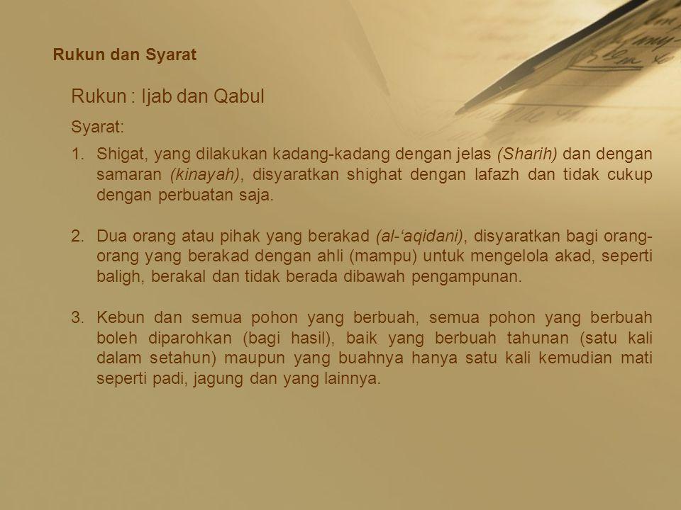 Rukun : Ijab dan Qabul Rukun dan Syarat Syarat: