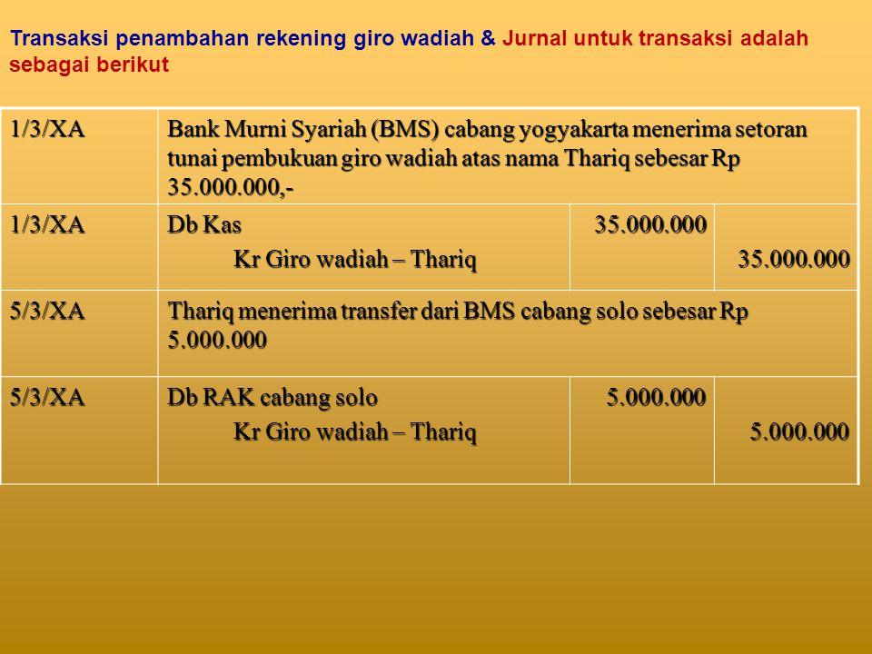 Thariq menerima transfer dari BMS cabang solo sebesar Rp 5.000.000