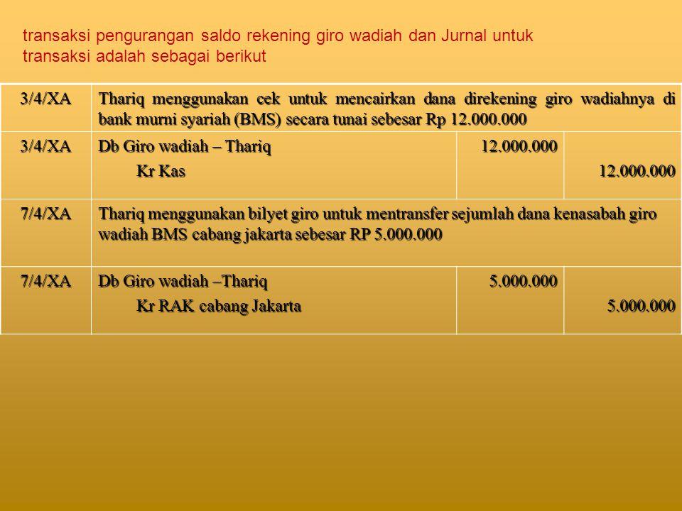 transaksi pengurangan saldo rekening giro wadiah dan Jurnal untuk transaksi adalah sebagai berikut
