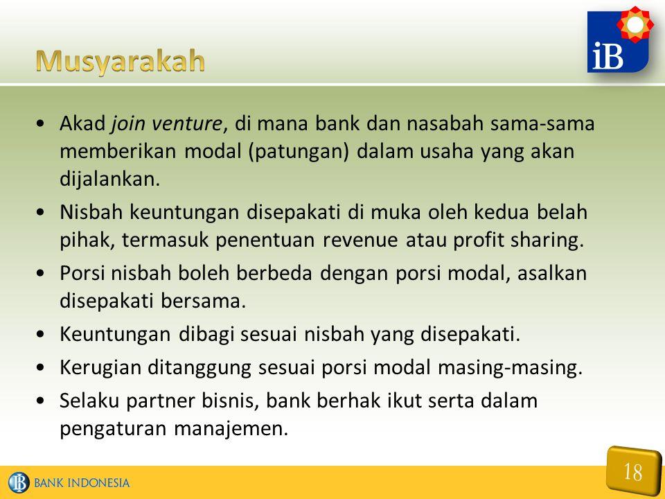 Musyarakah Akad join venture, di mana bank dan nasabah sama-sama memberikan modal (patungan) dalam usaha yang akan dijalankan.