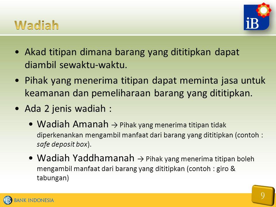 Wadiah Akad titipan dimana barang yang dititipkan dapat diambil sewaktu-waktu.
