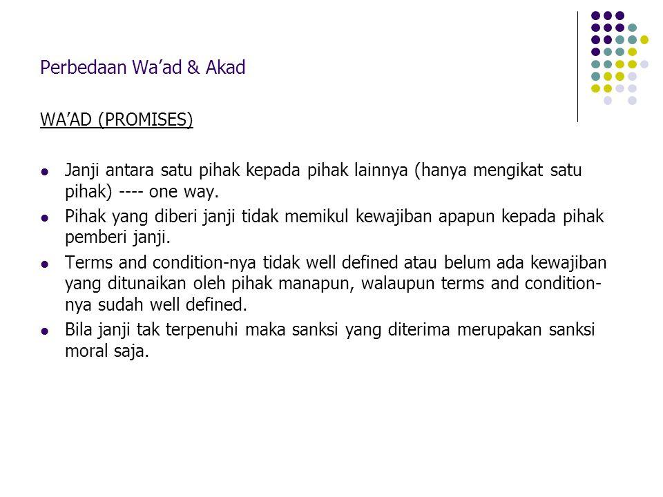 Perbedaan Wa'ad & Akad WA'AD (PROMISES)