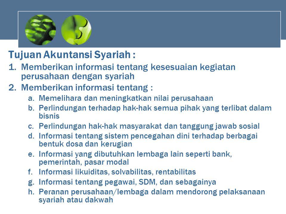 Tujuan Akuntansi Syariah :
