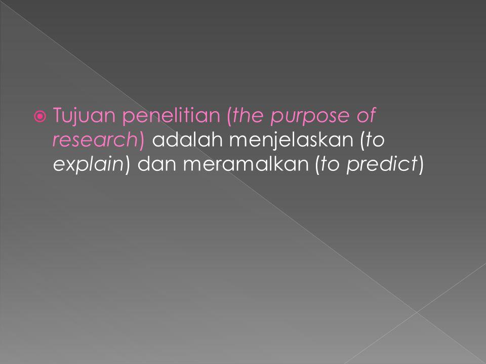 Tujuan penelitian (the purpose of research) adalah menjelaskan (to explain) dan meramalkan (to predict)