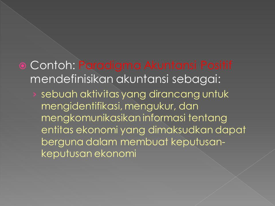 Contoh: Paradigma Akuntansi Positif mendefinisikan akuntansi sebagai: