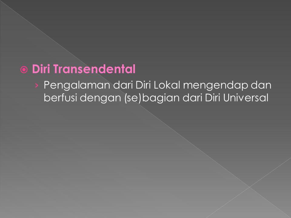 Diri Transendental Pengalaman dari Diri Lokal mengendap dan berfusi dengan (se)bagian dari Diri Universal.