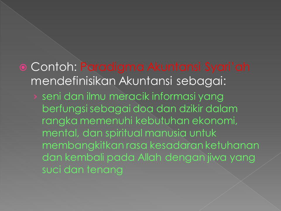 Contoh: Paradigma Akuntansi Syari'ah mendefinisikan Akuntansi sebagai: