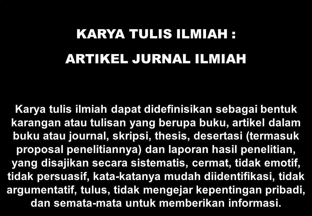 Karya Tulis Ilmiah : ARTIKEL JURNAL ILMIAH
