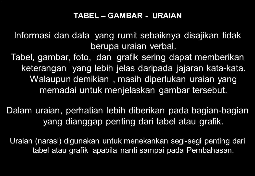 TABEL – GAMBAR - URAIAN Informasi dan data yang rumit sebaiknya disajikan tidak berupa uraian verbal.