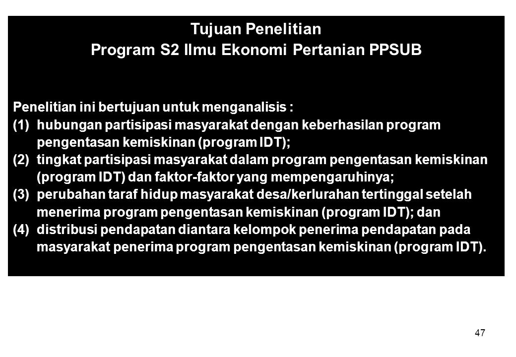 Program S2 Ilmu Ekonomi Pertanian PPSUB