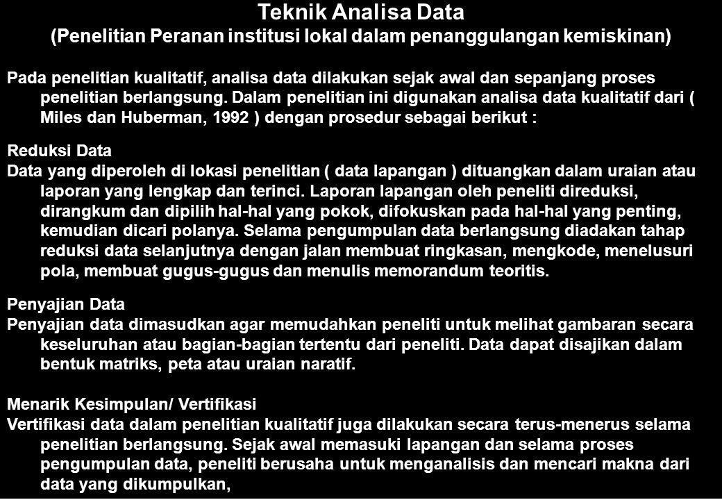 (Penelitian Peranan institusi lokal dalam penanggulangan kemiskinan)